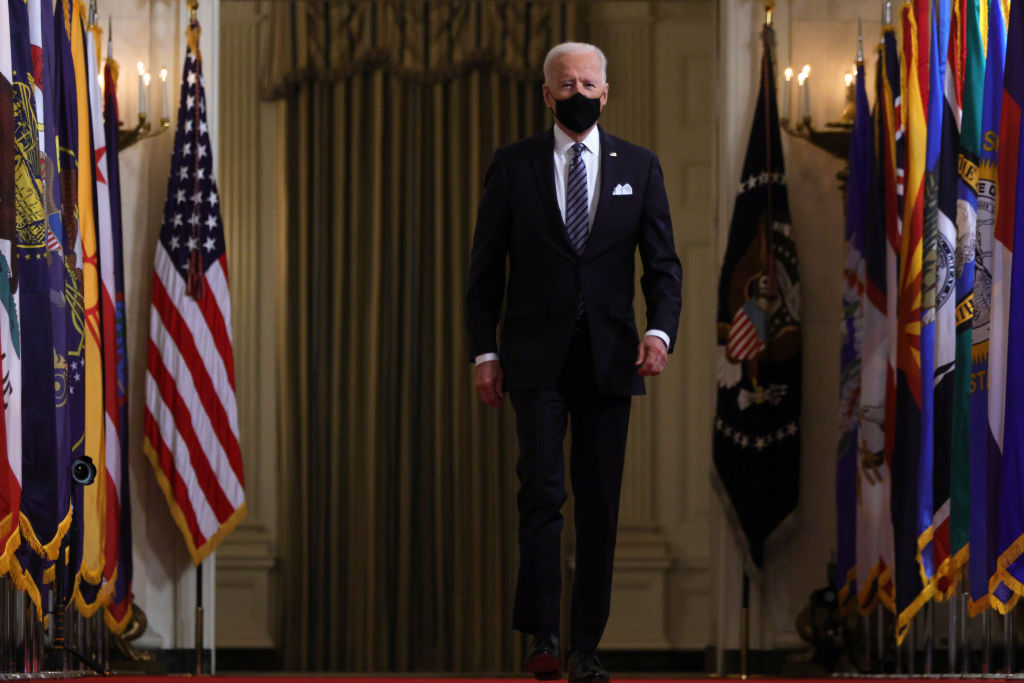 U.S. President Joe Biden arrives to give a primetime address to the nation from the East Room of the White House.