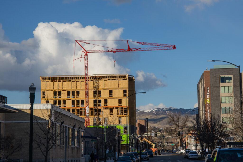 Construction crane in downtown Boise