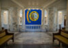 Idaho state flag hangs in the rotunda of the Capitol building