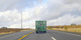 Reclaim Idaho organizers traveled through the scenic Gem State in a funky 1977 green painted RV.
