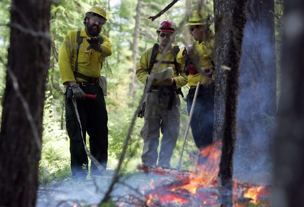 Helmville, Montana, volunteer firefighters train in the forest.