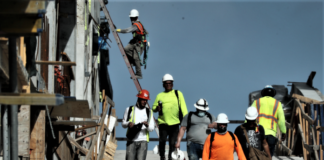 Construction workers at a Florida job site.