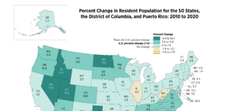 U.S. map shows 17.3% increase in Idaho population
