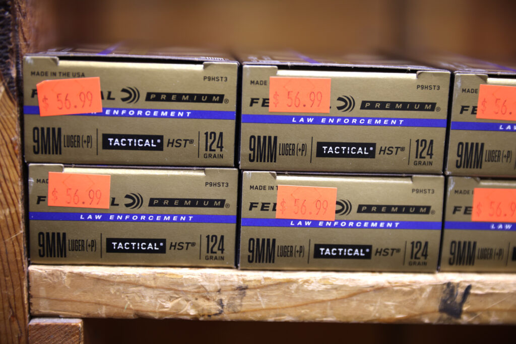 Boxes of 9mm ammunition