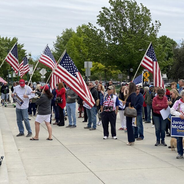 Crowd of 100 at Idaho Capitol came to support McGeachin for governor