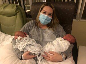 Lauren Wong with Aiden and Luke in the St. Luke's Boise hospital in November