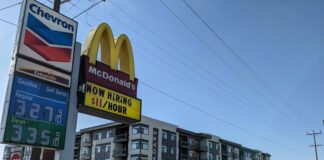 A McDonald's in Boise advertises it is hiring for $11 per hour.