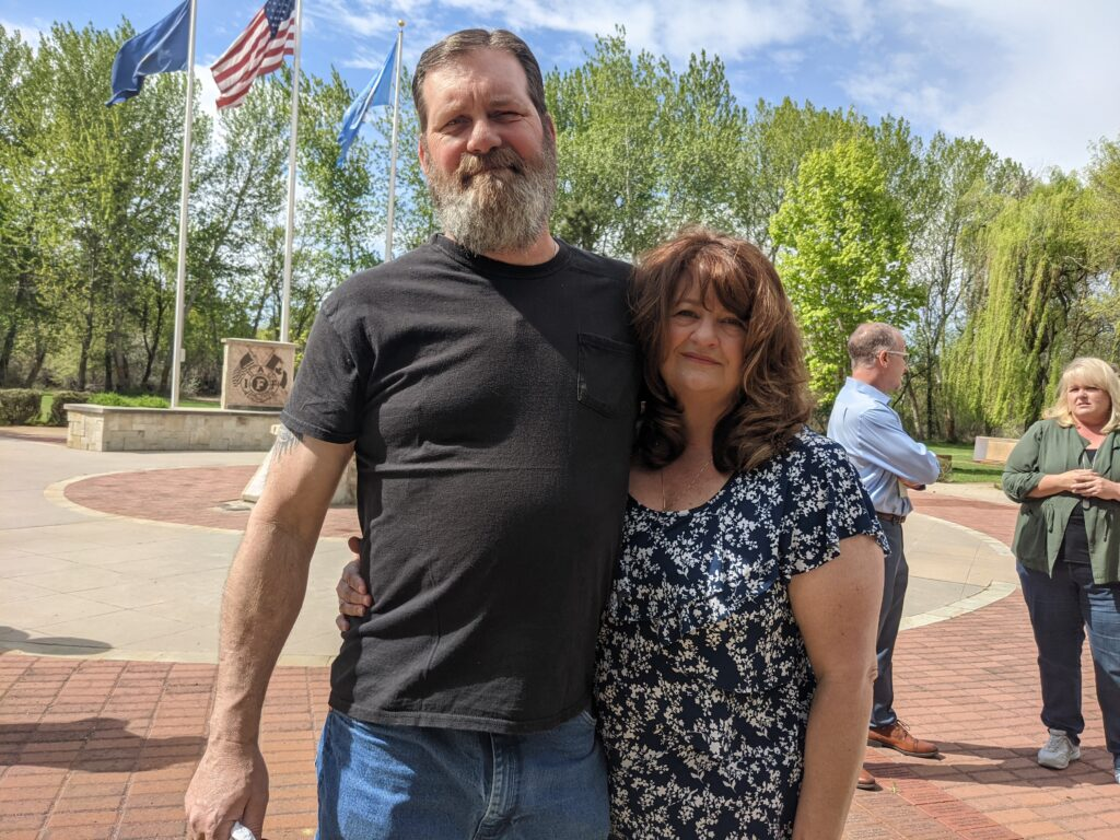 Patrick and Heidi Anderson in Boise at a Workers Memorial Day event