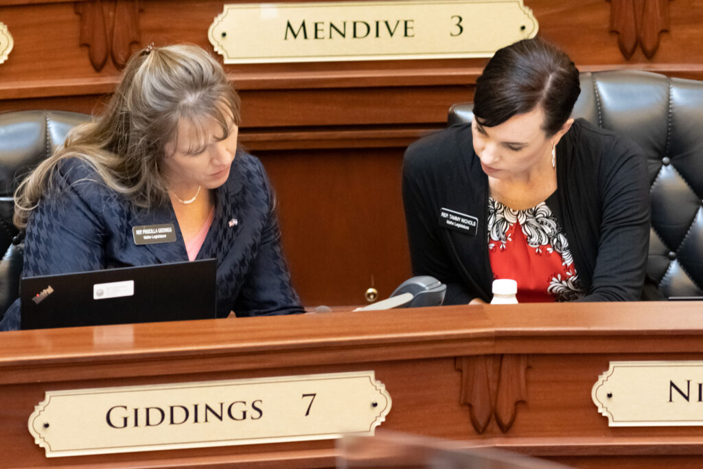 Idaho Reps. Priscilla Giddings, R-White Bird, and Tammy Nichols, R-Middleton