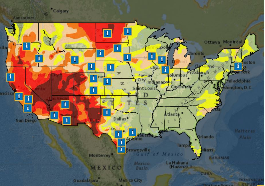 U.S. map of drought conditions