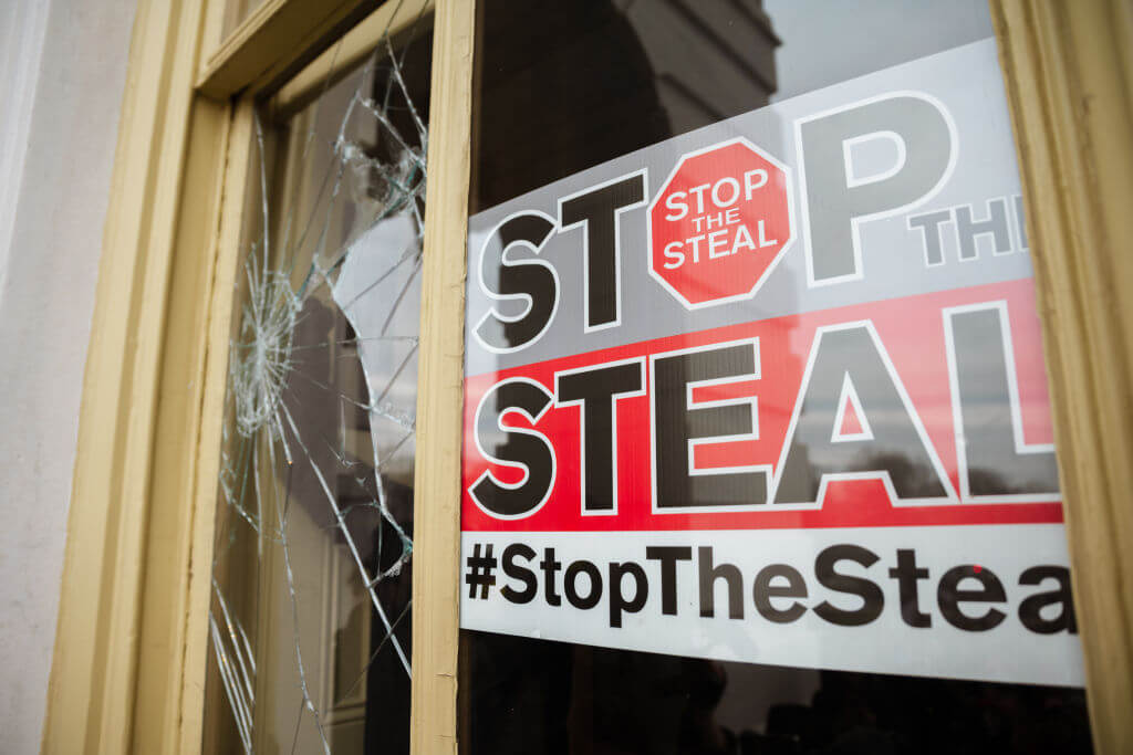 A stop the steal sign in the U.S. Capitol