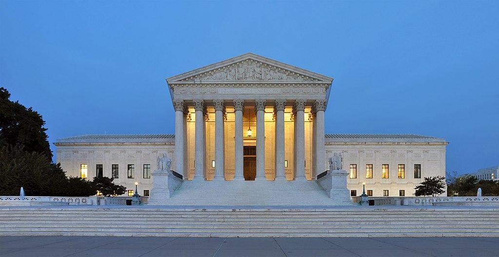 Photo shows the U.S. Supreme Court at dusk