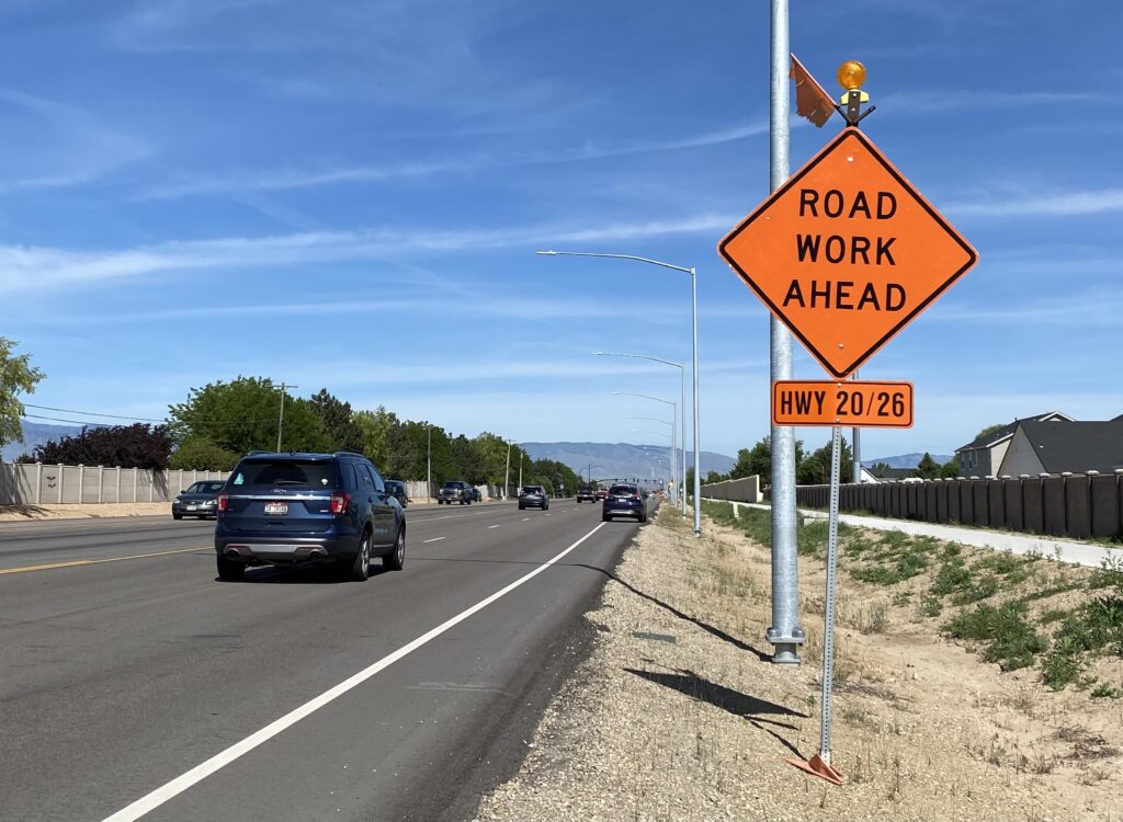 """Sign that says """"Road work ahead"""""""