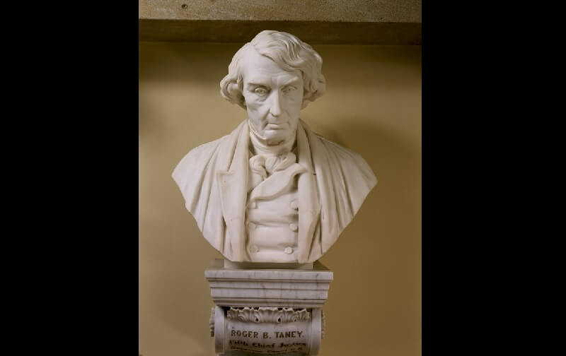 The bust of Roger Brooke Taney sits outside the historic Supreme Court chambers in the U.S. Capitol.