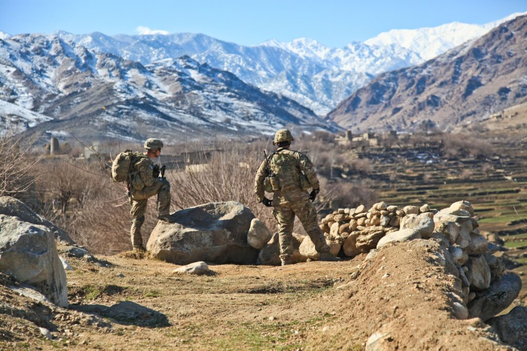 Soldiers in Afghanistan mountains