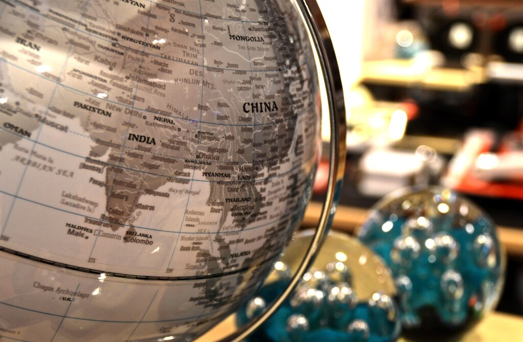 China outlined on a globe