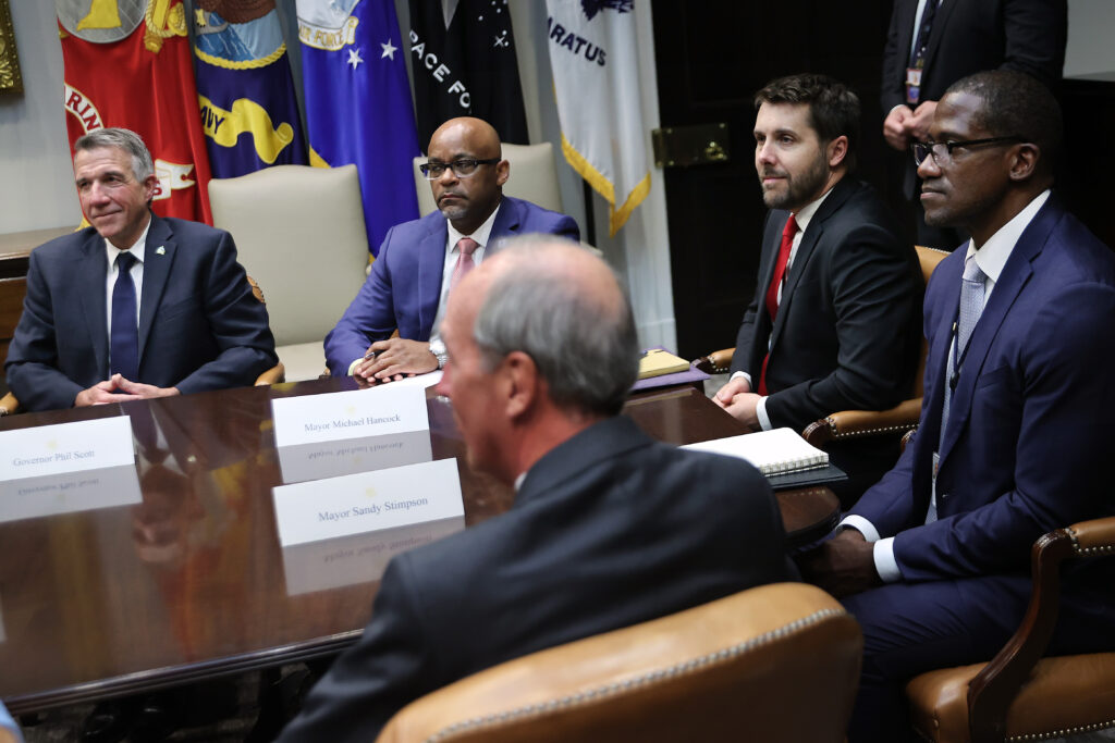 State and local government officials meet with Joe Biden on the proposed infrastructure plan