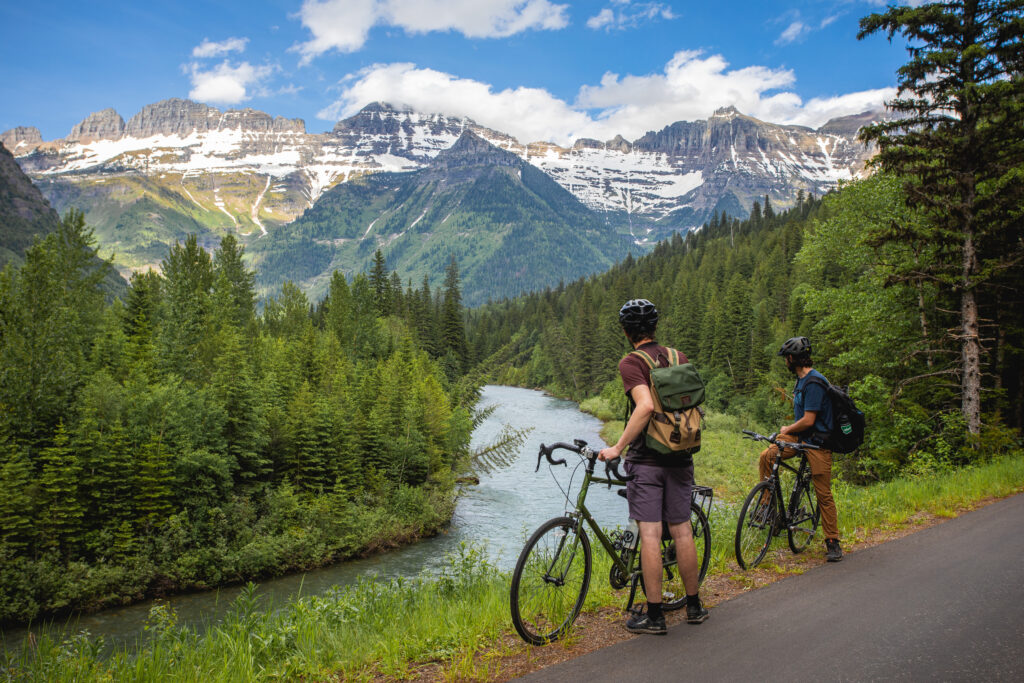 Cyclists in Glacier National Park