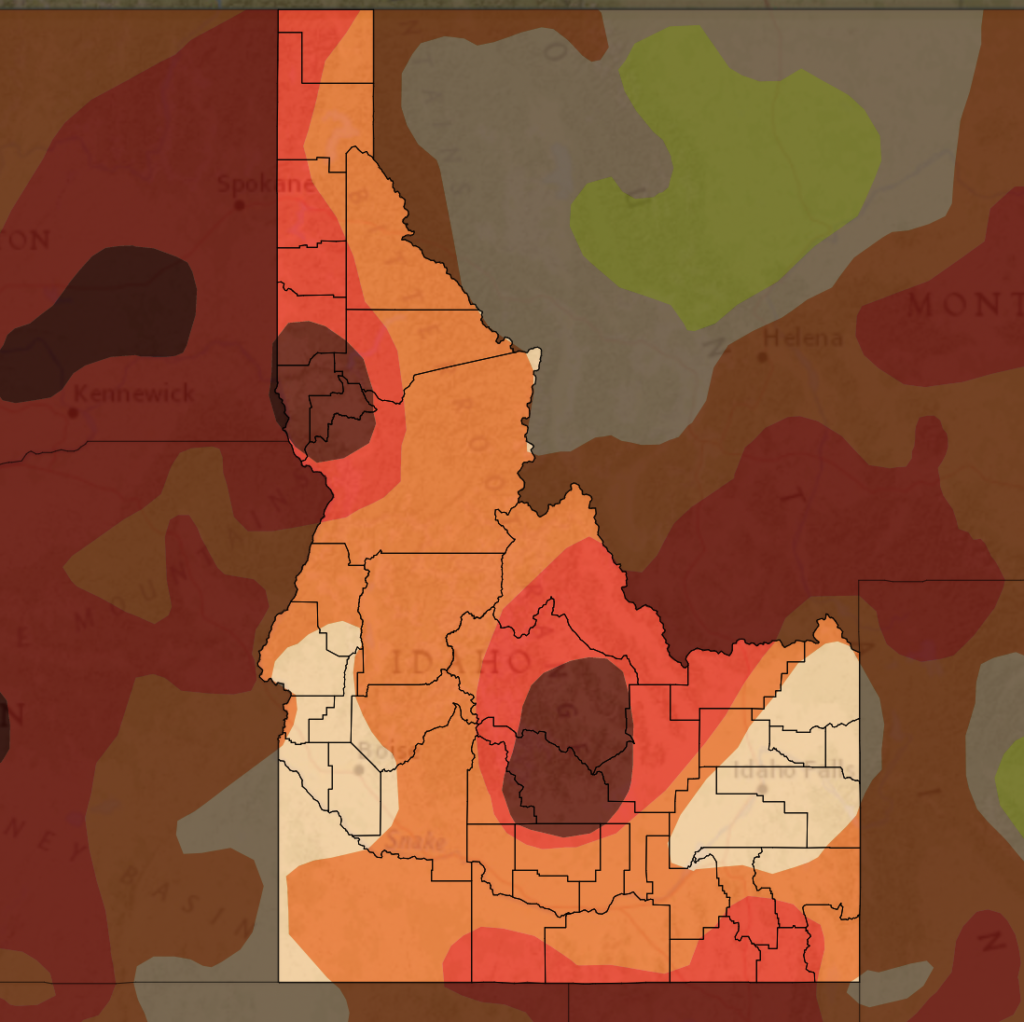 drought map of Idaho