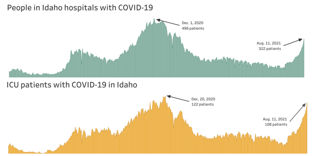 Chart showing the number of people in Idaho hospitals, and in ICUs, with COVID-19