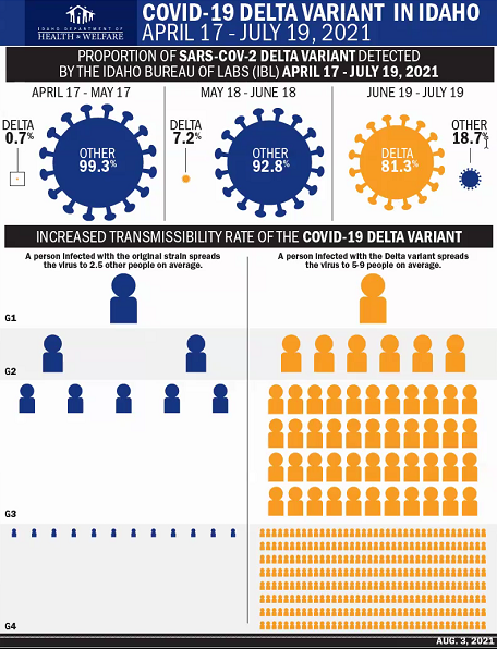 An infographic from the Idaho Department of Health and Welfare shows how Delta quickly overtook other forms of the COVID-19 virus, and how it can infect exponentially more people.