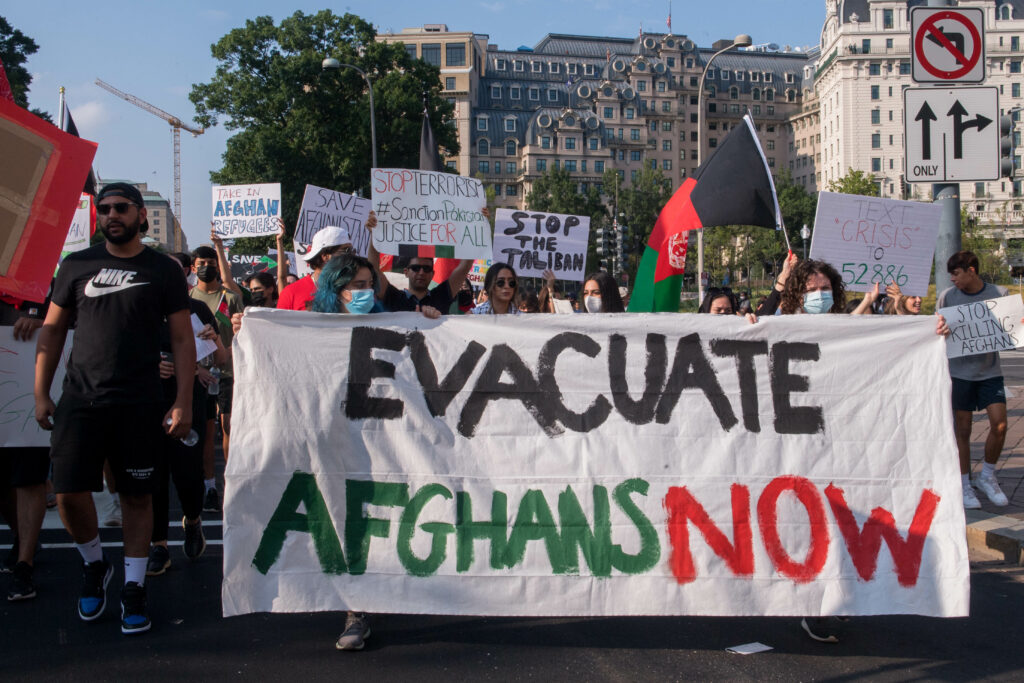 """Save Afghan Lives"" protestors march down Washington D.C. streets"