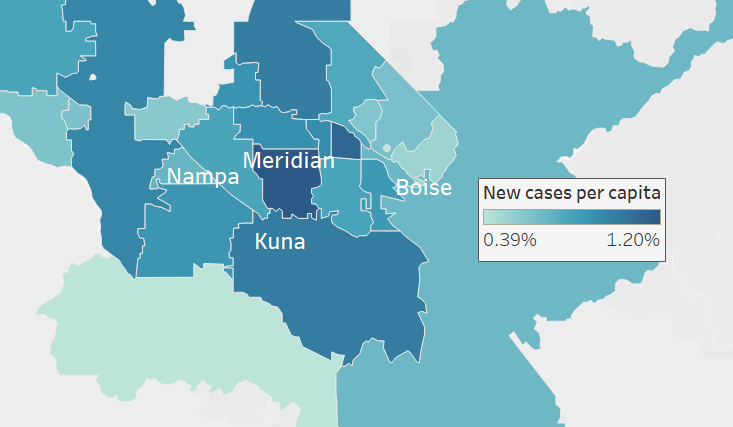 Map showing new cases of COVID-19 per capita by ZIP code in the Treasure Valley