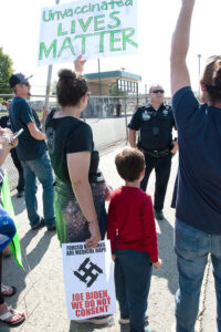 Protesters gathered at Joe Biden's Boise visit