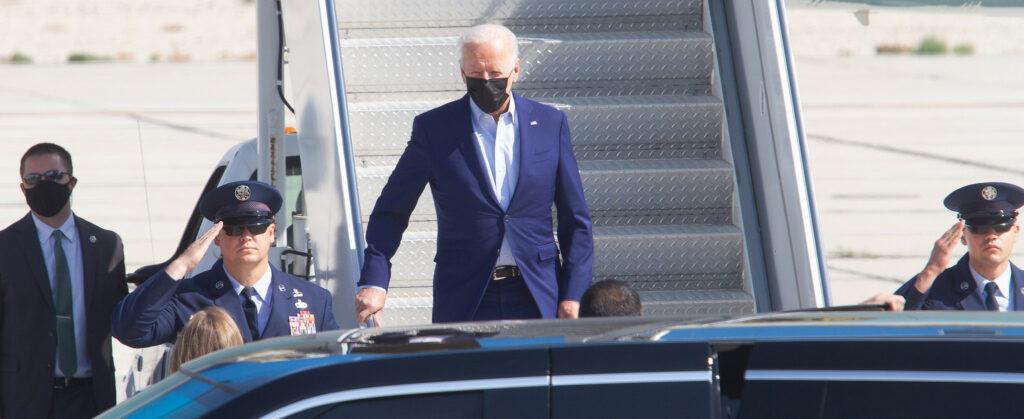 President Joe Biden lands at Boise Airport