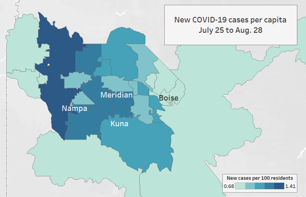 Map showing new cases of COVID-19 in Ada and Canyon counties