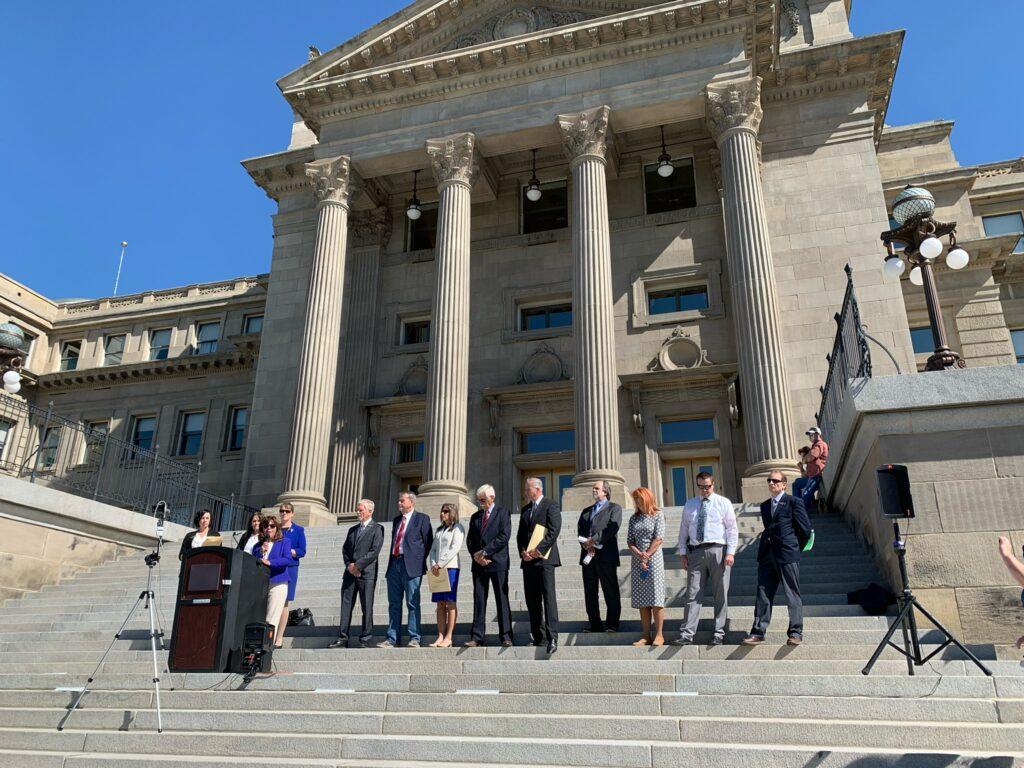 GOP legislators gather on Idaho Statehouse steps
